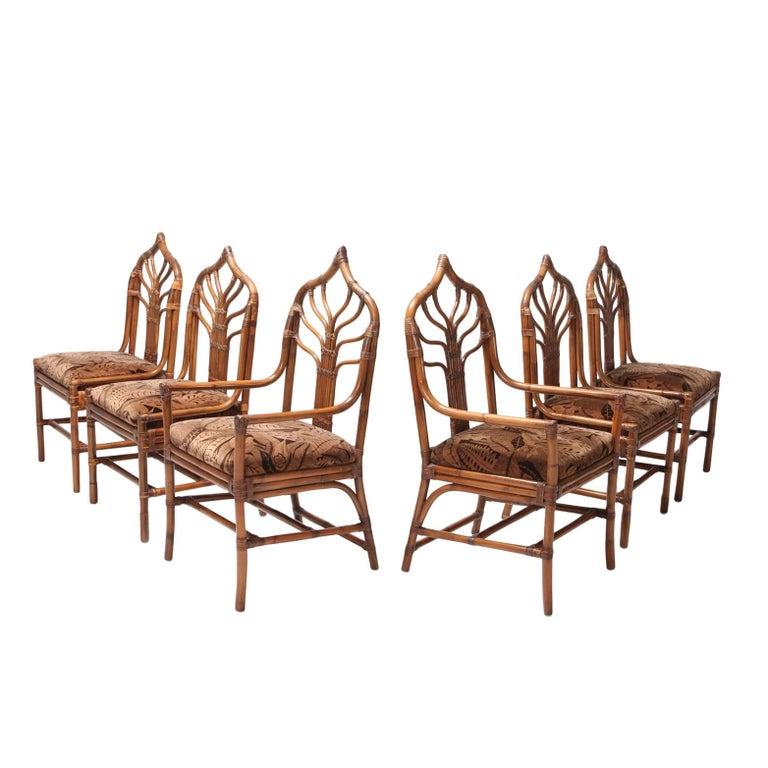 Rattan bamboo dining chairs with floral original upholstery, Italy, 1970s Metropolitan chic tropicalist dining chairs  style Vivai del Sud, Henry Olko, Franco Albini A set of 6 with 4 chairs and 2 armchairs.