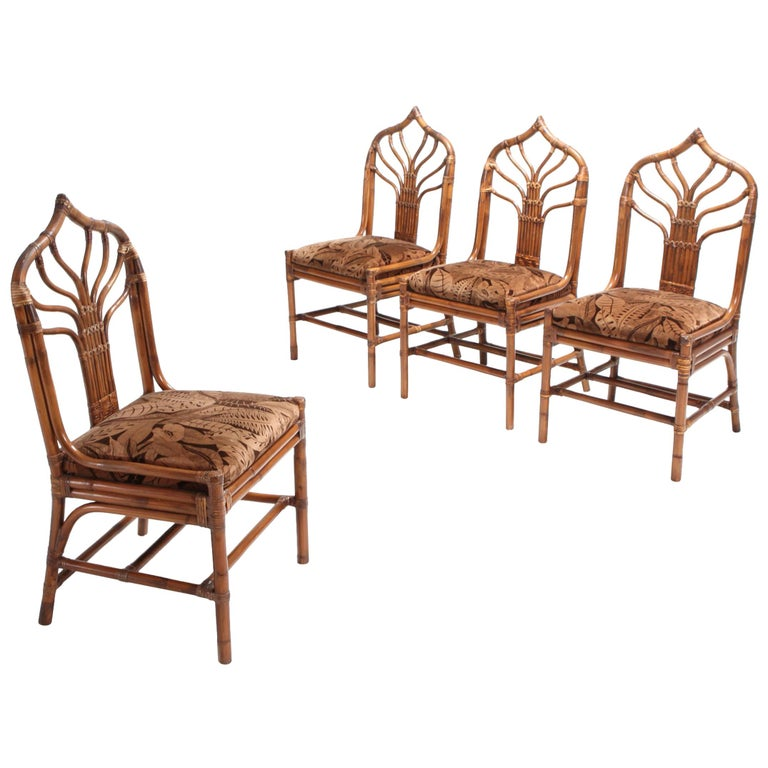 Bamboo Dining Chairs from 1970s, Italy For Sale