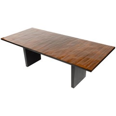 WYETH Original Split Bamboo Dining Table with Ebonized Oak Slab Legs