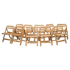Bamboo Folding Chairs Set of 10 Italy, 1960s