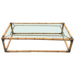 Bamboo Framed Coffee Table, France, Midcentury