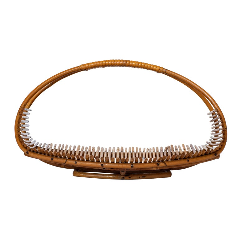 Wide French bamboo fruit basket with beautiful curved handle.