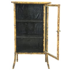 Bamboo Furniture, Antique Display Cabinet, Bamboo Bookcase,Scotland1880 REDUCED!