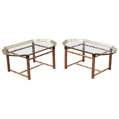 Bamboo Glass Tray Coffee Table, France, 1970s