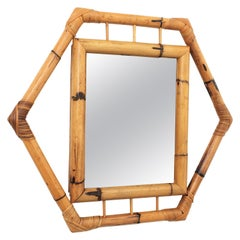 Bamboo Hexagonal Mirror with Smoked Glass, France, 1950s