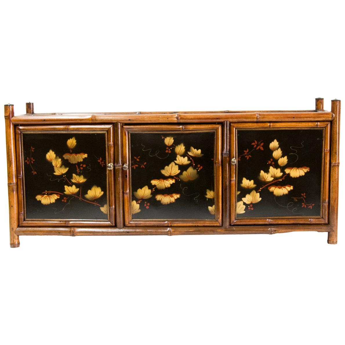 Bamboo Lacquer Three-Door Cabinet