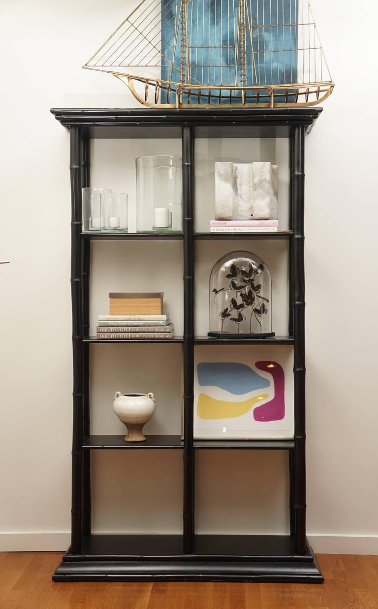 American Bamboo Lacquered Bookcase For Sale