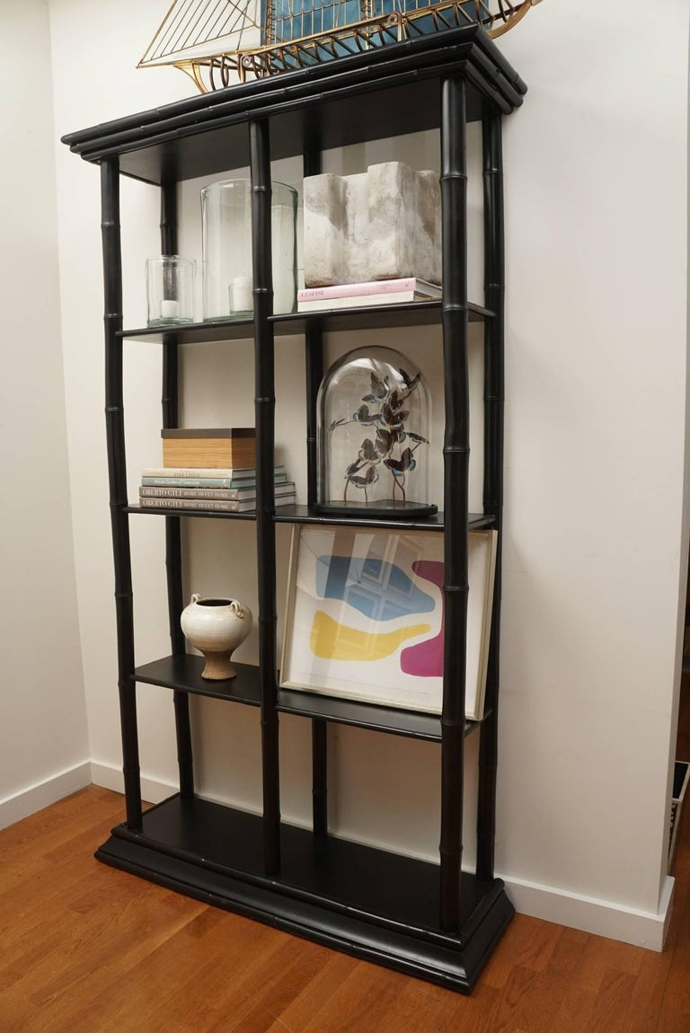 Contemporary Bamboo Lacquered Bookcase For Sale
