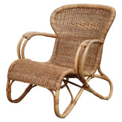 Bamboo Lounge Chair with Woven Seating