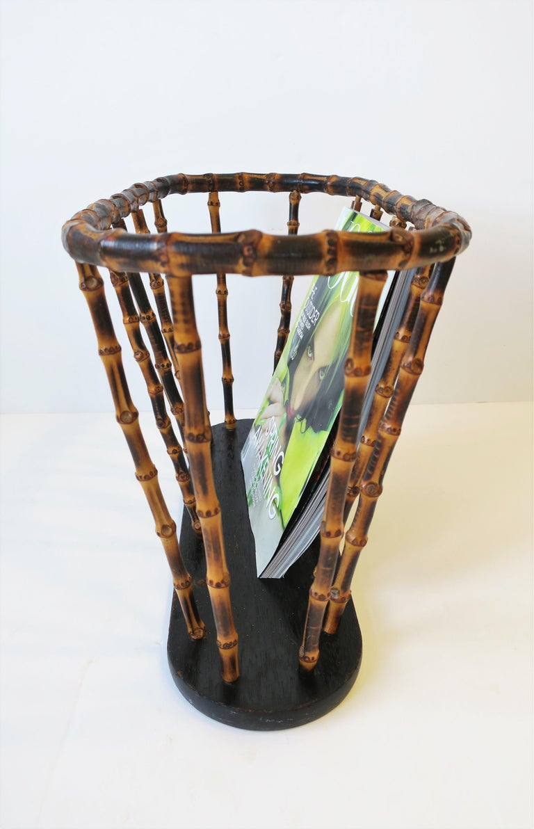 Bamboo Magazine or Newspaper Holder Stand Rack Basket For Sale 5