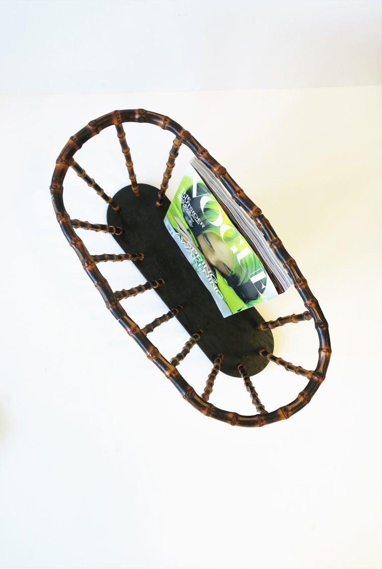 Bamboo Magazine or Newspaper Holder Stand Rack Basket For Sale 7