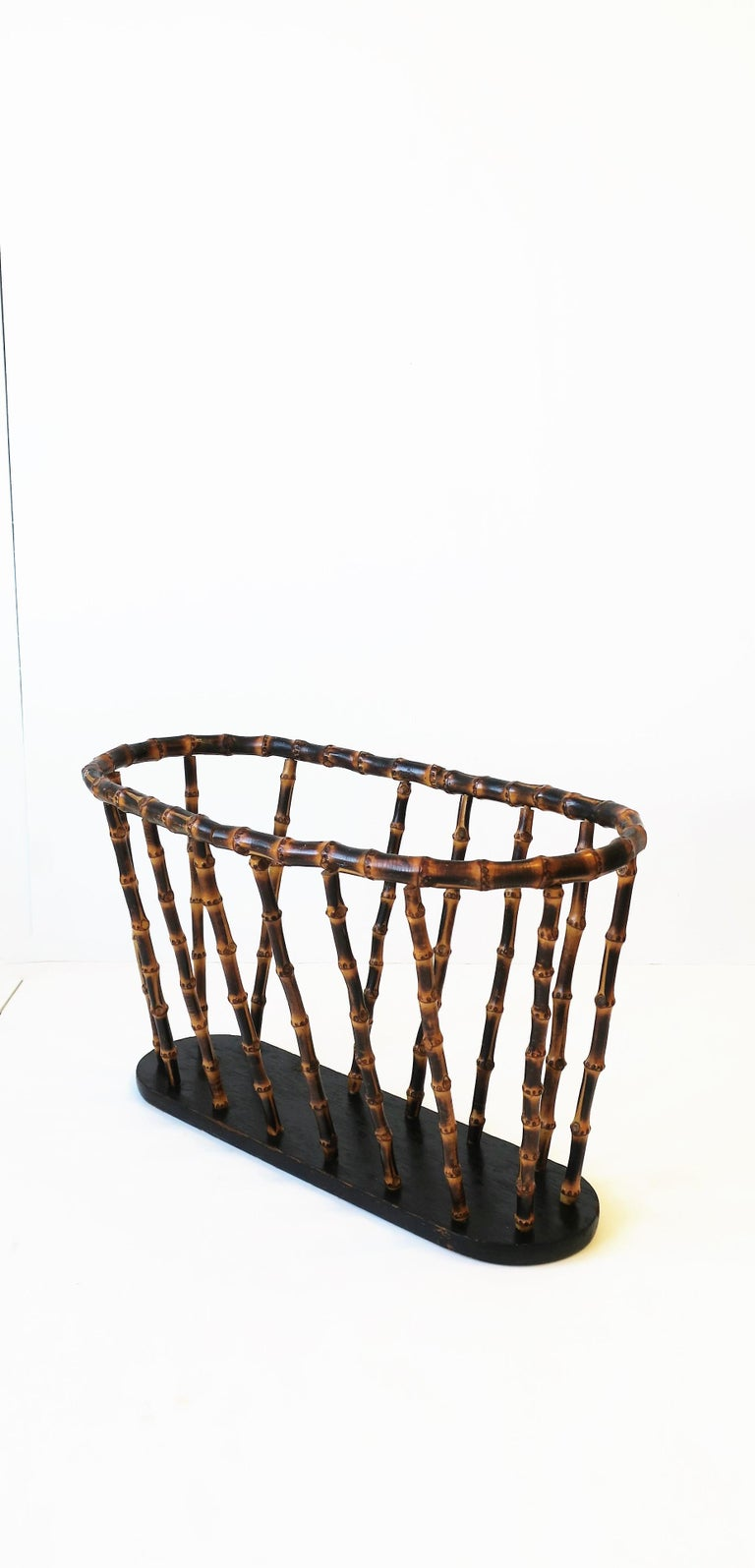 Painted Bamboo Magazine or Newspaper Holder Stand Rack Basket For Sale