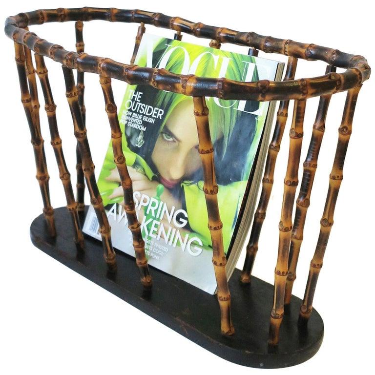 Bamboo Magazine or Newspaper Holder Stand Rack Basket For Sale