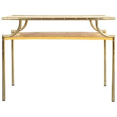 Bamboo Marquetry Brass Console Table, Italy, 1950