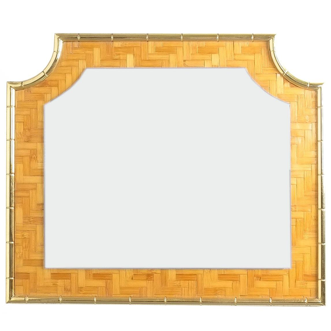 Bamboo Marquetry Brass Mirror, Italy, 1950