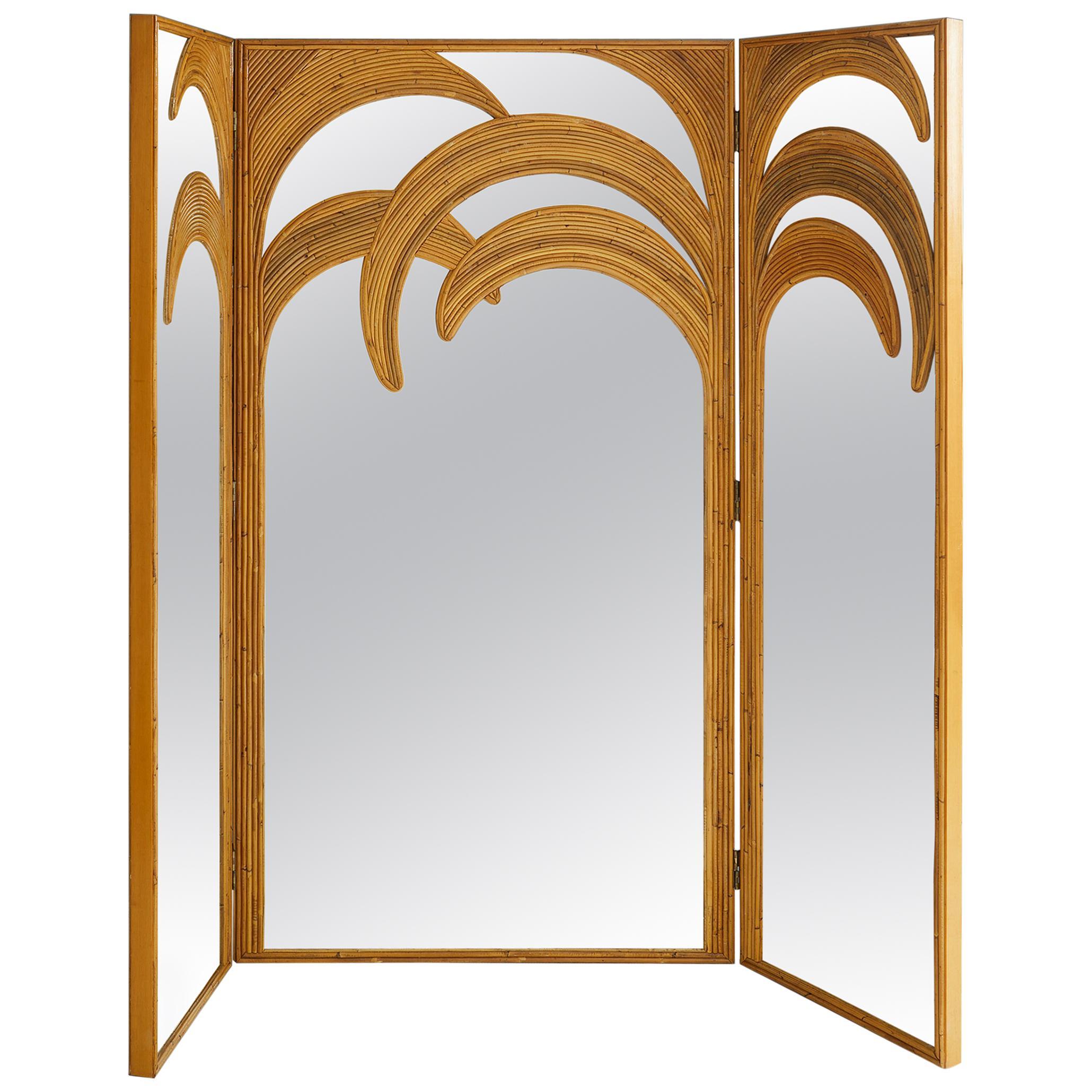 Bamboo Mirrored Screen, Vivai del Sud, Italy, 1970s
