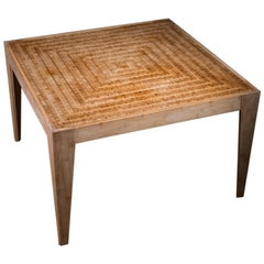 Bamboo Mosaic Table with Liquid Acrylic Resin Finish