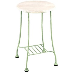 Bamboo Outdoor Green Wrought Iron Tall Side Table