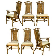 Bamboo Pagoda Dining Chairs by McGuire, Set of Six