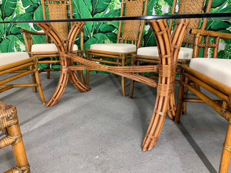Hollywood Regency Bamboo Pagoda Dining Set by McGuire For Sale