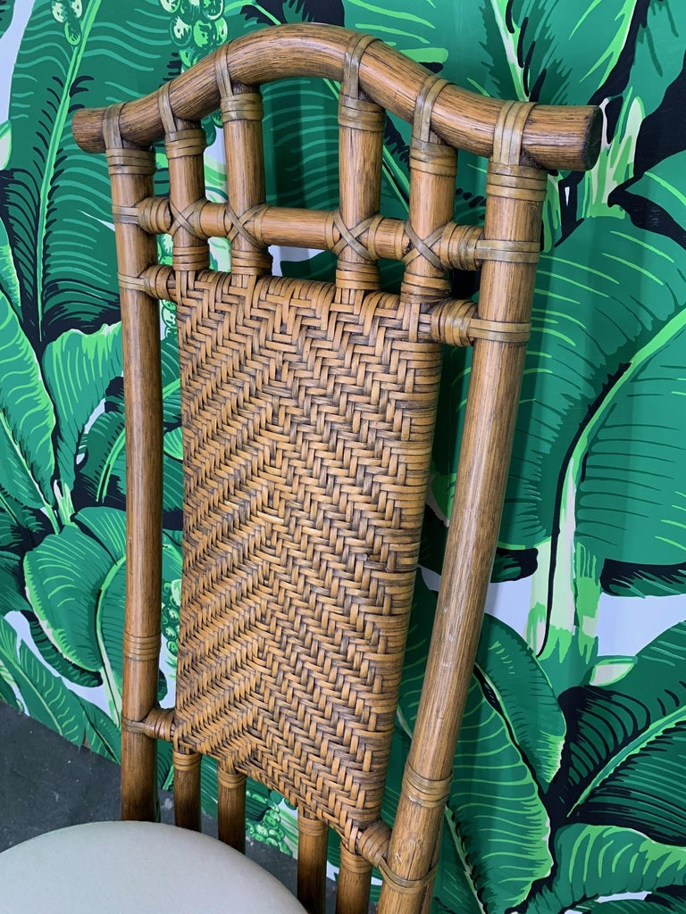 Rattan Bamboo Pagoda Dining Set by McGuire For Sale