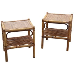 Bamboo Pair of Nightstands Bonacina Design 1950 Rectangular Beige Shelves