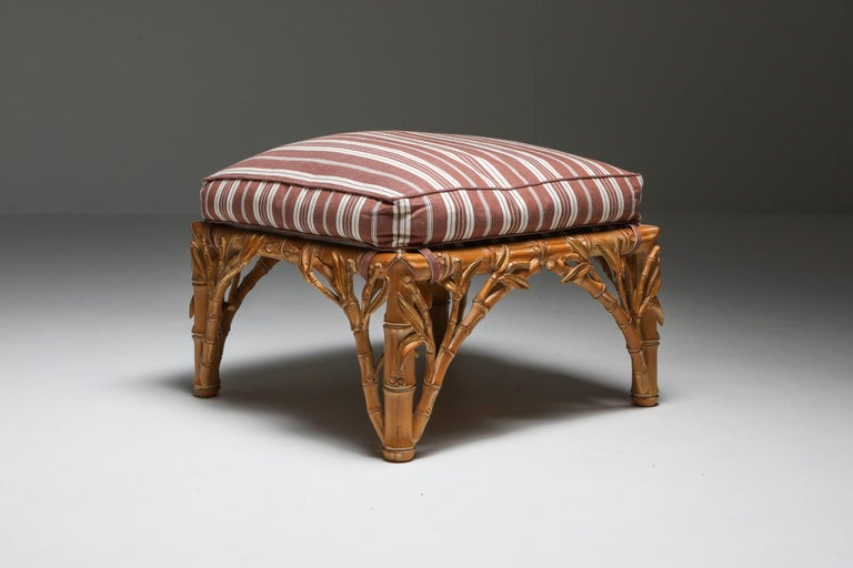 Bamboo Pair of Ottoman, Arpex, Italy, 1970s 3