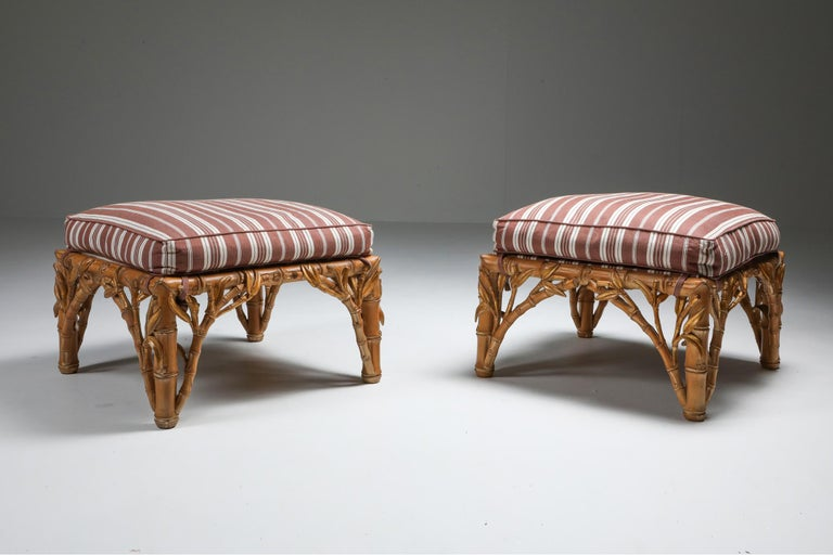 Faux bamboo ottoman in carved wood by Arpex, Italy, 1970s  Tropicalist Italian glam pair of ottoman in the manner of Vivai del Sud and Gabriella Crespi. Fits well in a Hollywood Regency inspired eclectic decor.