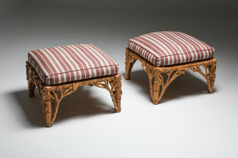 Hollywood Regency Bamboo Pair of Ottoman, Arpex, Italy, 1970s