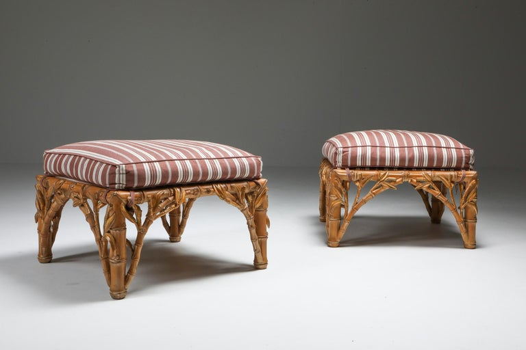 Hand-Carved Bamboo Pair of Ottoman, Arpex, Italy, 1970s