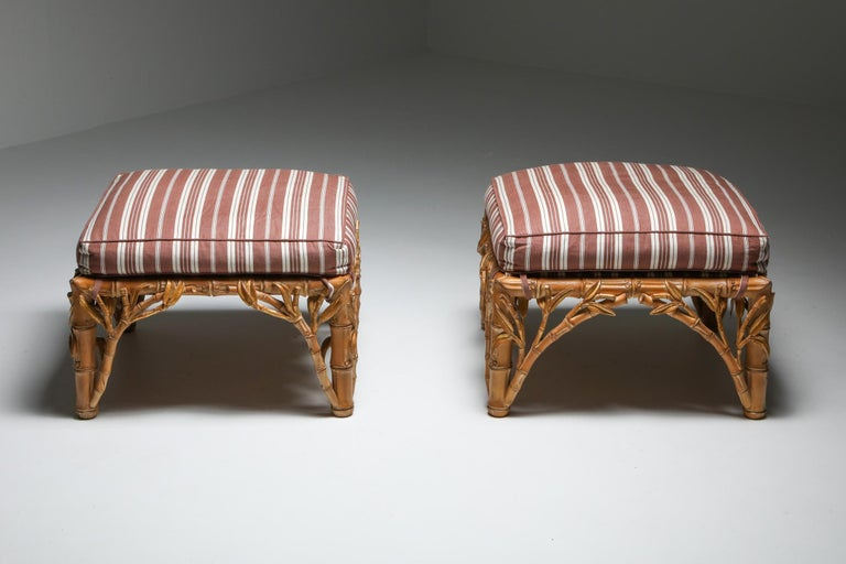 Bamboo Pair of Ottoman, Arpex, Italy, 1970s In Good Condition In Antwerp, BE