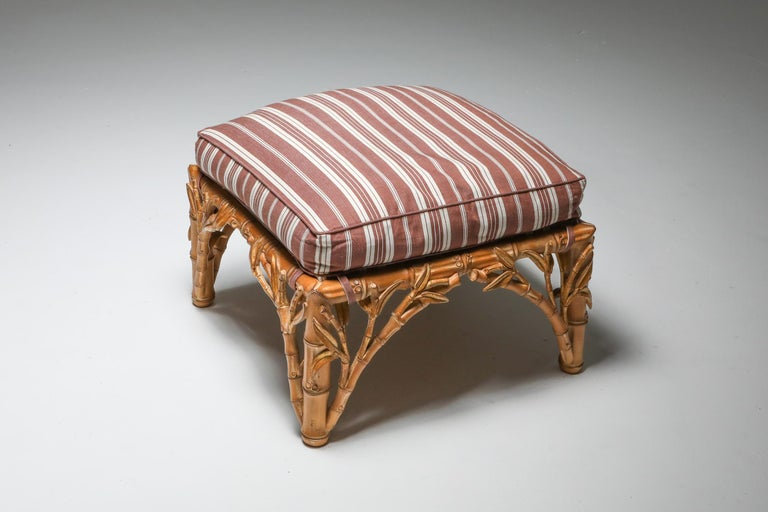 Late 20th Century Bamboo Pair of Ottoman, Arpex, Italy, 1970s