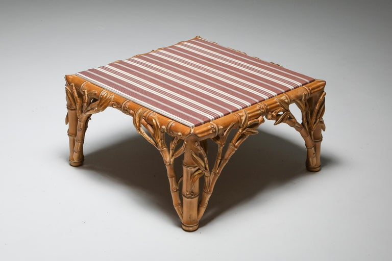 Wood Bamboo Pair of Ottoman, Arpex, Italy, 1970s