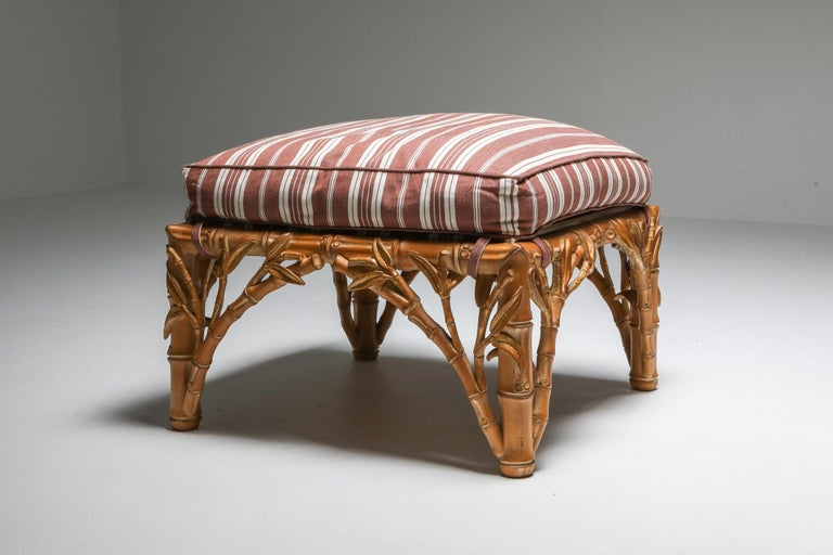 Bamboo Pair of Ottoman, Arpex, Italy, 1970s 2