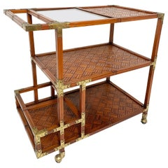 Bamboo Parquet Serving / Bar Cart with Brass Joinery, circa 1960s