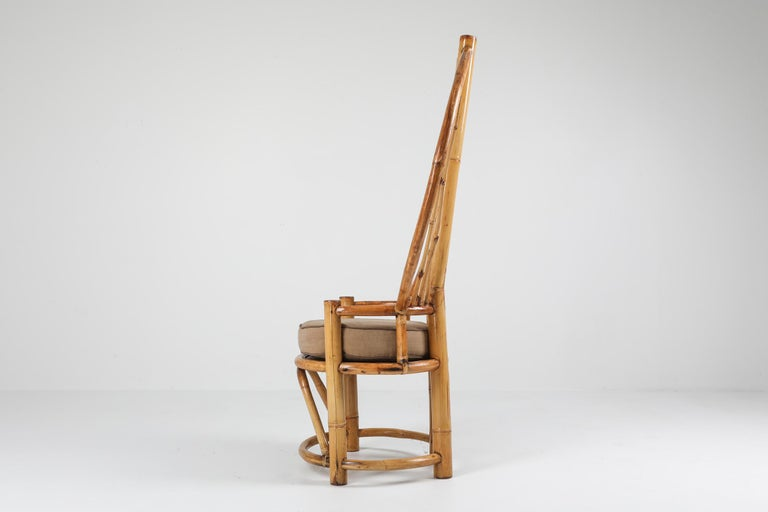 Hollywood Regency Bamboo Peacock Chairs in the Style of Albini