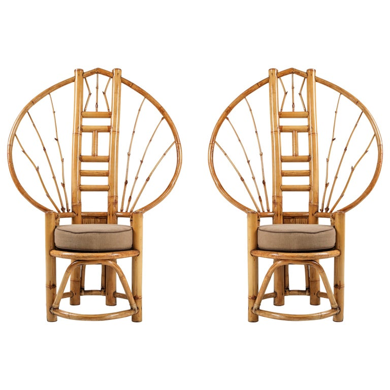 European Bamboo Peacock Chairs in the Style of Albini