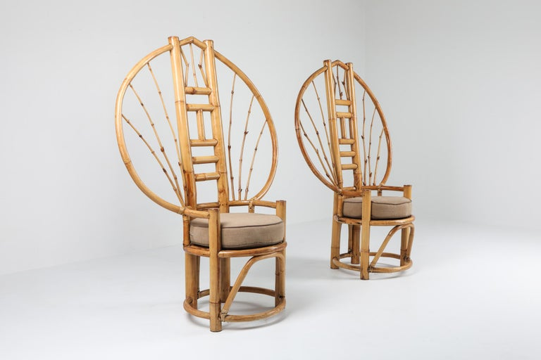 Bamboo Peacock Chairs in the Style of Albini In Excellent Condition In Antwerp, BE