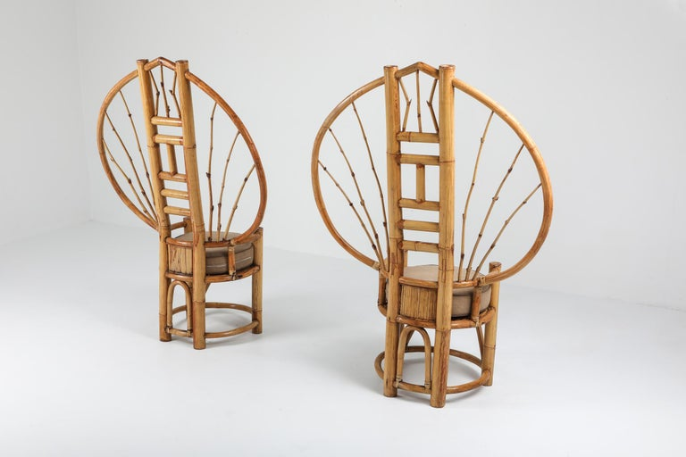 20th Century Bamboo Peacock Chairs in the Style of Albini