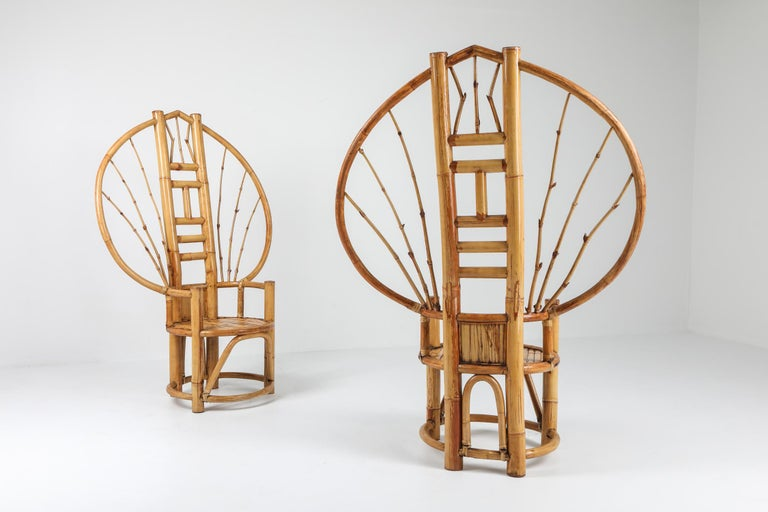 Bamboo Peacock Chairs in the Style of Albini 1