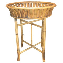 Bamboo Plant Stand with Large Woven Basket Top