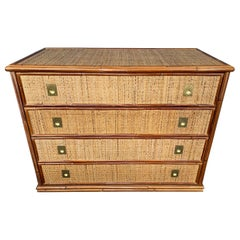 Bamboo Rattan and Brass Chest of Drawers by Dal Vera, Italy, 1970s