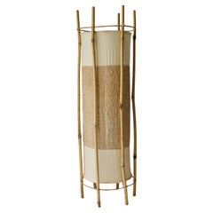 Bamboo, Rattan and Cotton Mid-Century Lamp in the Style of Louis Sognot