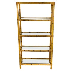 Bamboo Rattan and Glass Bookcase Étagère, Italy, 1960s