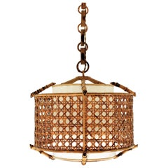 Bamboo Rattan and Wicker Weave Drum Pendant Lamp or Lantern with Tiki Accents
