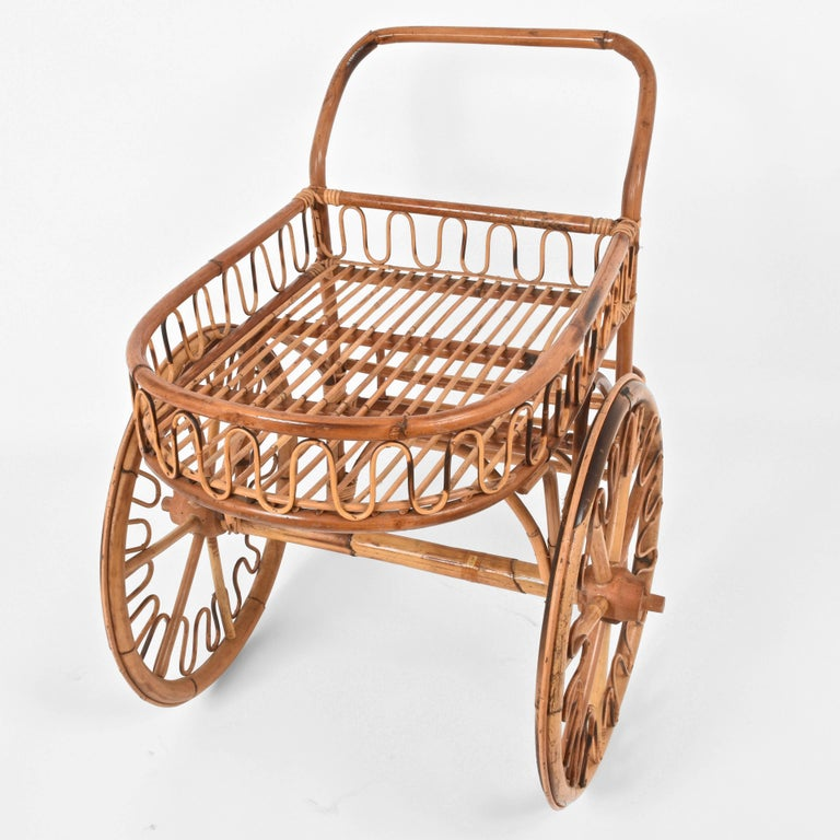 Bamboo Rattan Bar Cart, France Riviera, 1950s, Trolley Vintage For Sale 4