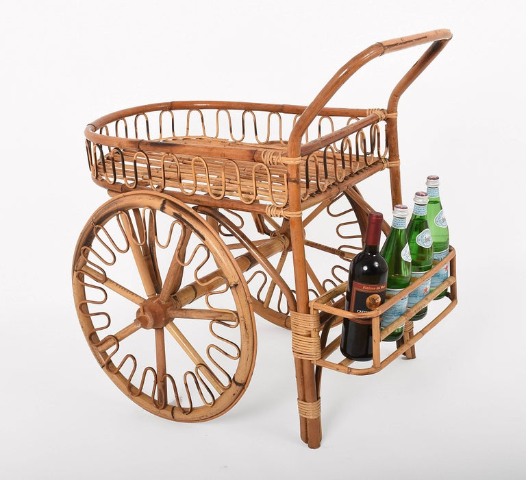Bamboo Rattan Bar Cart, France Riviera, 1950s, Trolley Vintage For Sale 1