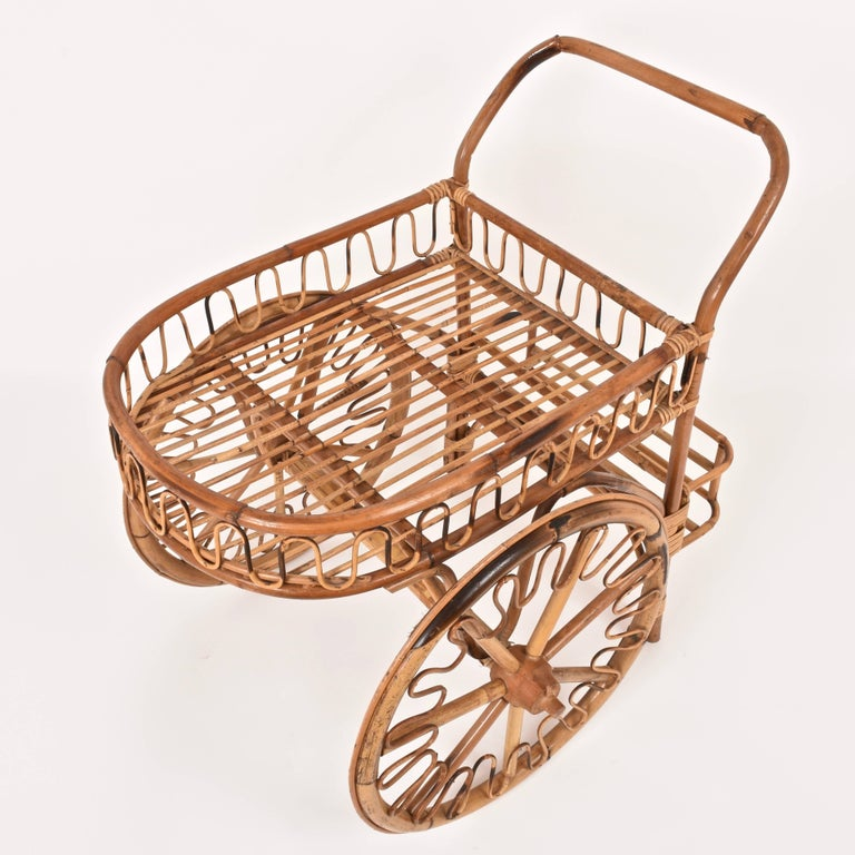 Bamboo Rattan Bar Cart, France Riviera, 1950s, Trolley Vintage For Sale 3