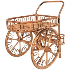 Bamboo Rattan Bar Cart, France Riviera, 1950s, Trolley Vintage