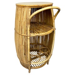 Bamboo Rattan Barrel Bar Cart Cabinet by Bonacina, Italy, 1960s
